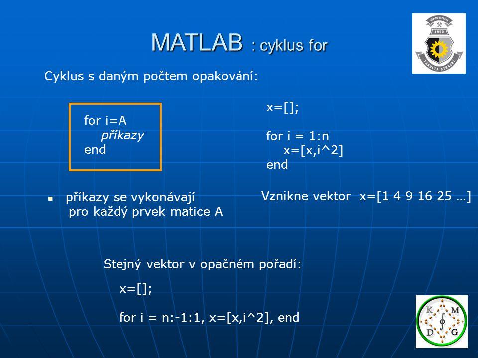 MATLAB : cyklus for Cyklus s daným počtem opakování: x=[]; for i=A